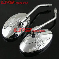 For Honda Steed 400 600 Magna 250 750 CA250 Shadow 400 Silver Motorcycle Rearview Mirrors Mirror 1Pair