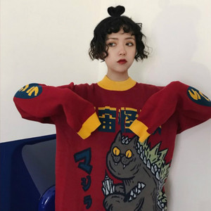 Image 4 - Harajuku Fashion Knitted Women Sweater Cartoon Monster Embroidery Student Sweater Coat Loose Retro Hit Color Pullover Sweater