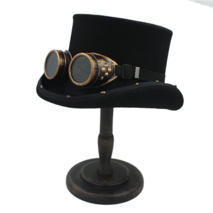 13 5CM 4 Size Wool Handmade Women Men Steampunk Top Hat Punk GlassMad Hatter Magic Props