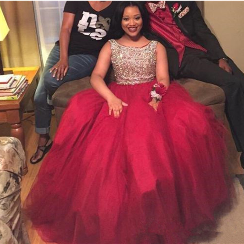 Buy 2017 red beaded sleeveless a line for Plus size african wedding dresses