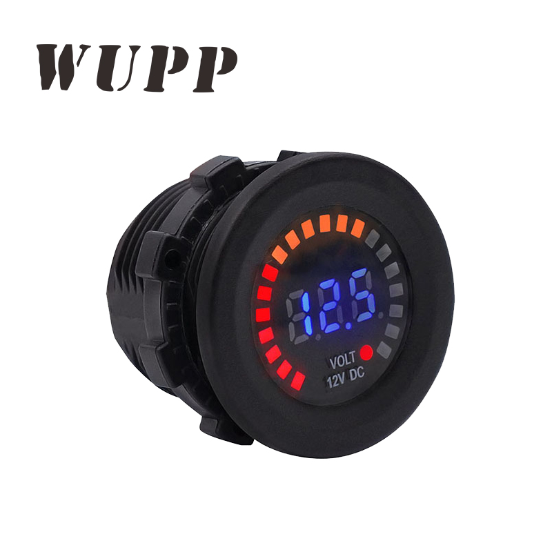 WUPP Best Professional 12V Voltmeter Car Motorcycle Led Digital Display Black Pc Shell Voltmeter With Flashing