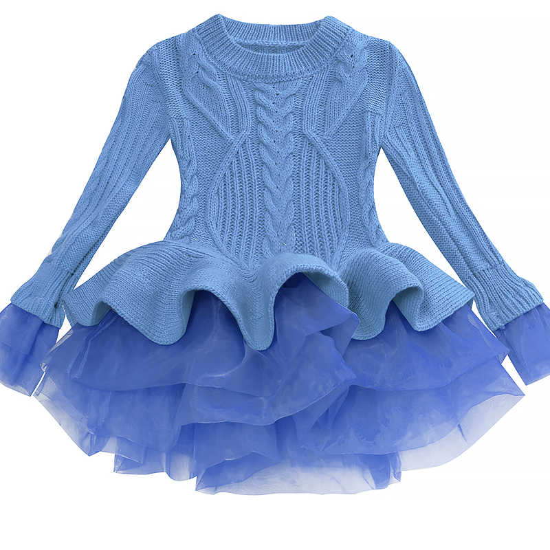 Korea Lace Knitted Sweaters Warm Dresses Winter Baby Wear Clothes Girls Clothing Sets Children Dress Child Clothing Kids Costume 6