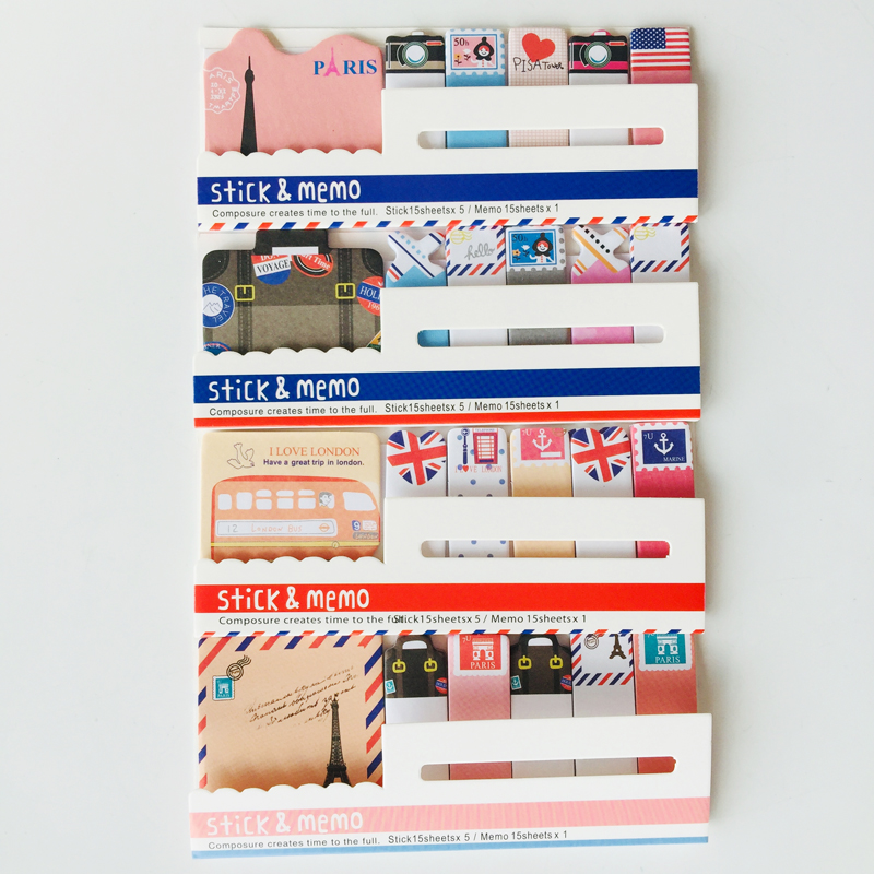 90sheets/pack Cute I Love Paris London Travel Style Sticky Notes Memo Pad Notepad Notebook Sticker Bookmark Stick Label
