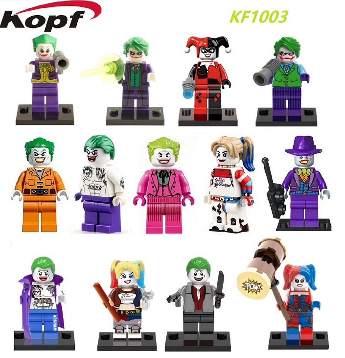 KF1003 Single Sale Super Heroes Batman The Dark Knight Joker Clown Harley Quinn Bricks Building Blocks Toys for children Gift single sale building blocks super heroes bob ross american painter the joy of painting bricks education toys children gift kf982