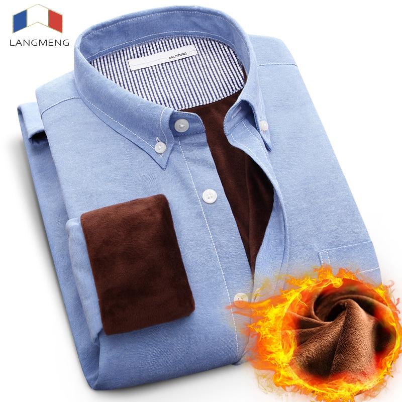 Langmeng חדש 5XL גברים חם קטיפה חורף חולצה Mens שרוול ארוך פליס חולצות מקושטות צבע מלא שמלה חולצה Camisa Masculina