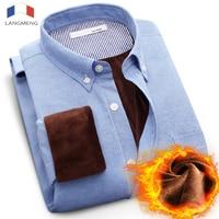 2015 Free Shipping Men Warm Velvet Shirt Winter Outwear Formal Casual Long Sleeve Shirts Camisa Masculina
