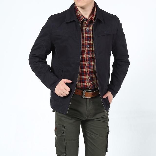 2018 High Quality Spring Fall Man Jacket Men Business Casual S Cotton Military Army