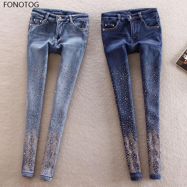 f1686f1e8602 2252.55 руб.  2018 новый светлый бархатной подкладке г жа женские джинсы  вышивка ...