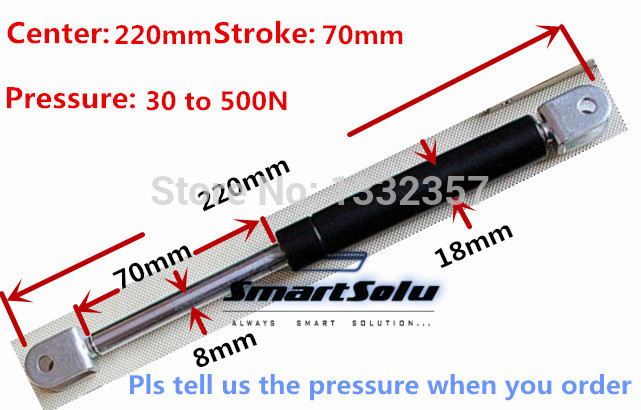 Free shipping 30 to 500N force 220mm central distance, 70 mm stroke, pneumatic Gas Spring, Lift Prop Gas Spring Damper free shipping500mm central distance 200mm stroke 80 to 1000n force pneumatic auto gas spring lift prop gas spring damper
