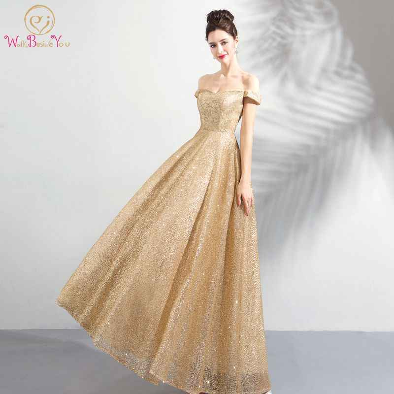 Detail Feedback Questions about Walk Beside You Gold Evening Dresses Long Off  Shoulder Bling Sequined Prom Gown for Women Abito Cerimonia Donna Sera ... 10e5890c7402