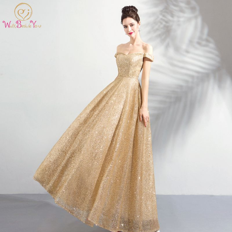 Walk Beside You Gold   Evening     Dresses   Long Off Shoulder Bling Sequined Prom Gown for Women Abito Cerimonia Donna Sera Engagement