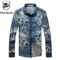 Fire Kirin Denim Shirt Men Long Sleeve Mens Vintage Shirts Slim Fit Dress Shirts Cotton Floral Printed Chemise Homme 2017 T132