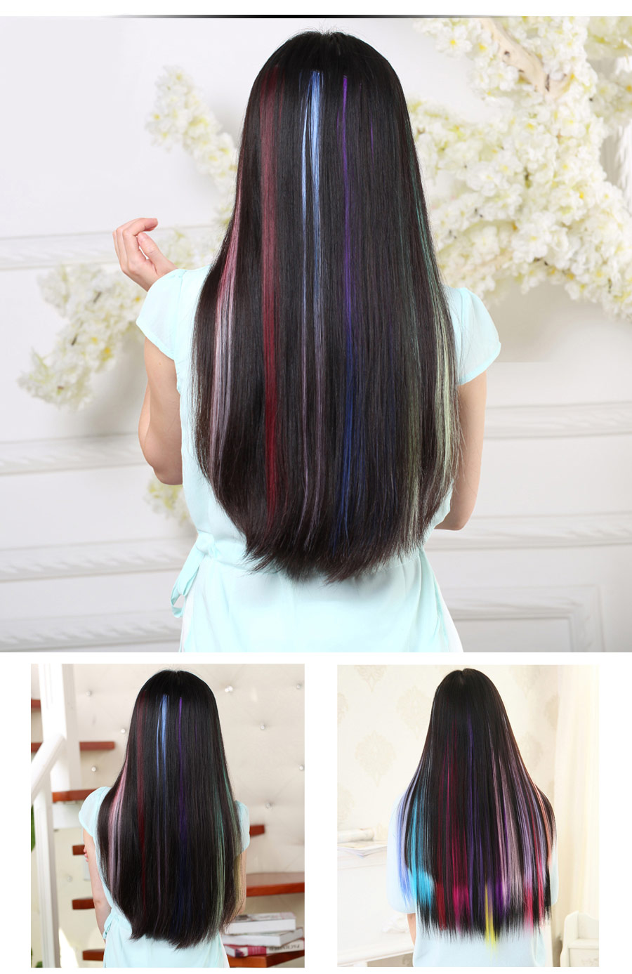 HTB1F9nVXg3pLuJjSZFPq6xWtXXaV - AliLeader Made 57 Colors 50CM Single Clip In One Piece Hair Extensions Synthetic Long Straight Ombre Grey Red Rainbow Hair Piece