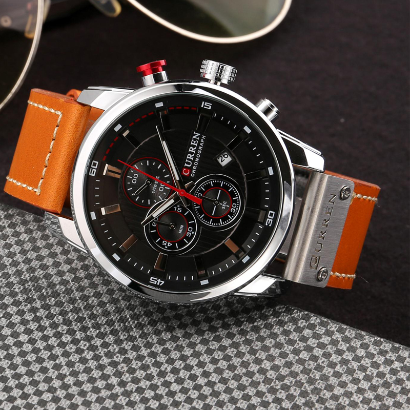 CURREN 8291 Luxury Brand Men Analog Digital Leather Sports Watches Men\`s Army Watch Man Quartz Clock Relogio Masculino drop shipping wholesale cheap (10)