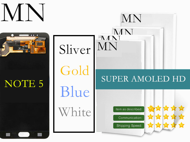 imágenes para 3 Color 100% Probado Pantalla Super AMOLED De Samsung Galaxy nota 5 N9200 N920 LCD Digitalizador Asamblea Azul Blanco oro