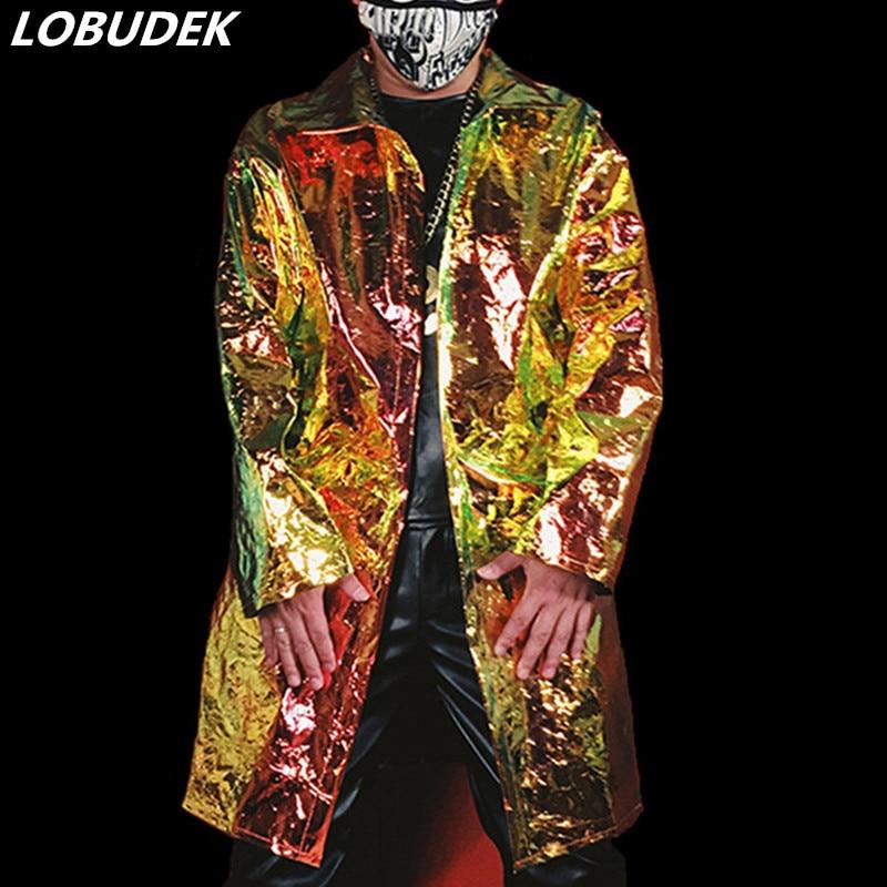 Marée mâle Cool veste en Faux cuir or PU cuir manteau hommes chanteur Concert Hip Hop Rock scène vêtements discothèque DJ DS Costume