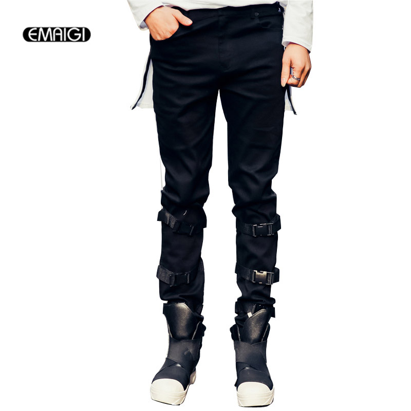 2017 spring new men casual pants legs buckle design men s denim pant high street fashion