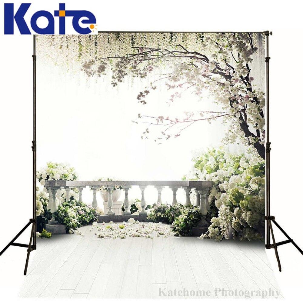 Kate 10x10ft Fleur Mur De Mariage Photographie Décors Printemps Jardin Bois de toile de Fond Fleurs Fond pour Photo Studio