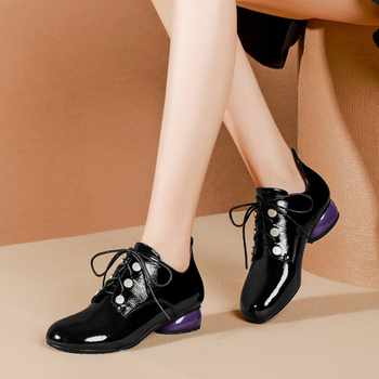 MLJUESE 2019 women pumps autumn spring patent leather lace up strange heel low heels lady shoes party dress wedding size 34-42 - DISCOUNT ITEM  41% OFF All Category