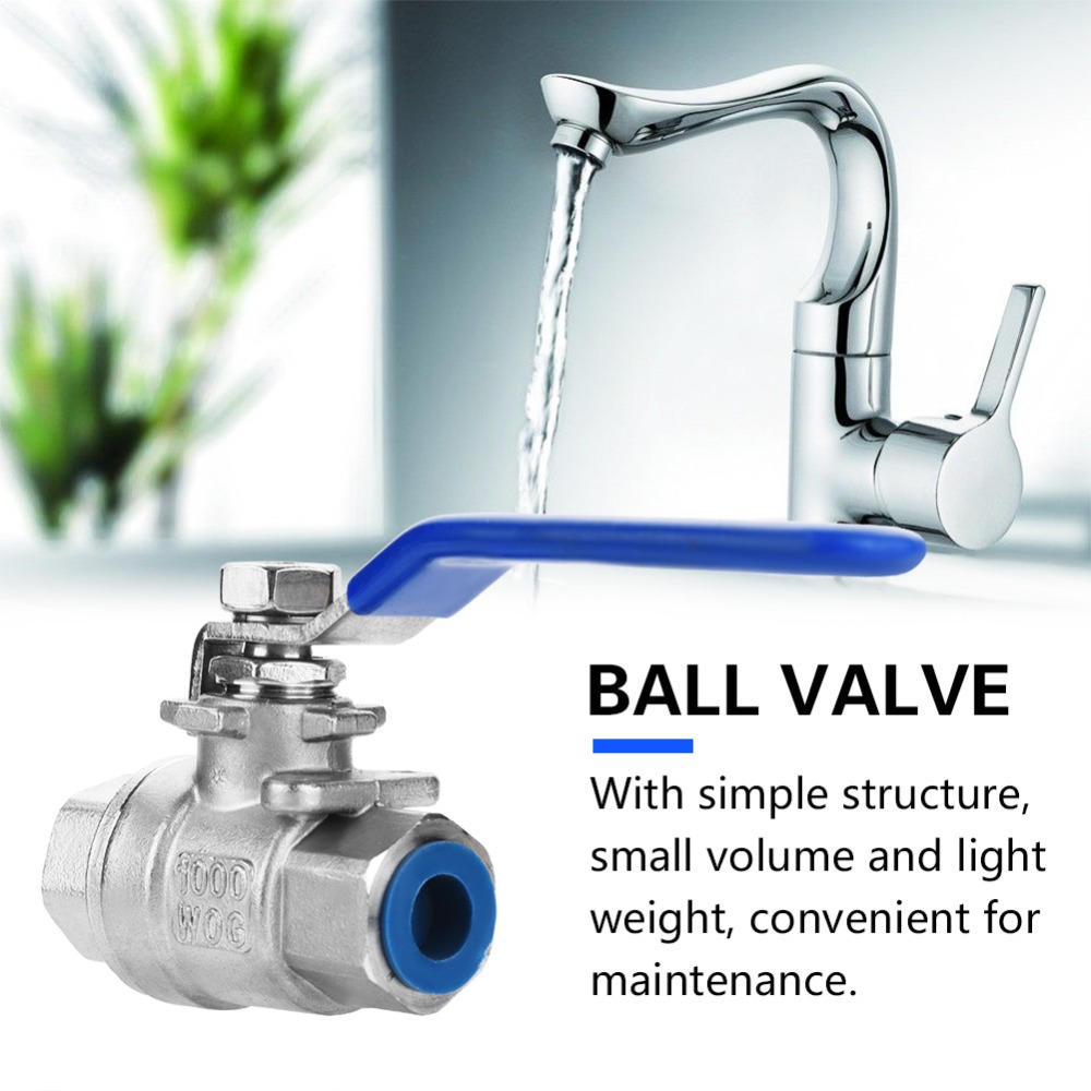 Ball Valve,304 Stainless Steel Three-Piece Full Port Female Ball Valve 3//4 NPT 1000WOG
