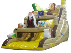 promotional Jungle Bonnie Bear topic inflatable slide for Frame inground pool