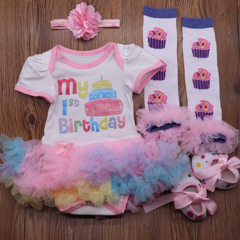 Arco Iris 1 er cumpleaños trajes para niñas recién nacido Vestido de fiesta Infantil Romper conjunto Vestido Infantil Niño tutú ropa