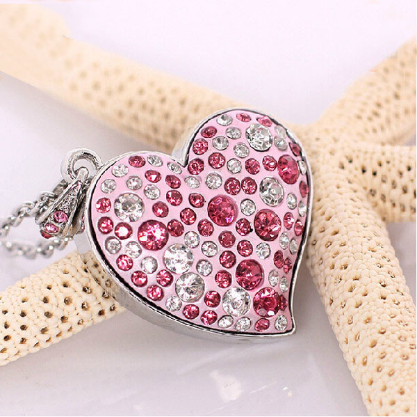 STmagic metal Pink crystal love Heart 4GB 8GB 16GB USB Flash Drive precious stone pen drive