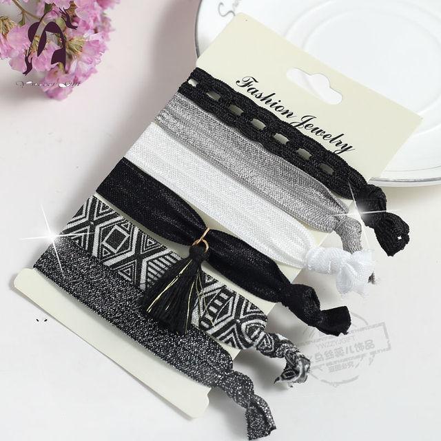 Trendy Summer Elastic Women Hair Accessories Tassel Hairband Jewelry Hand Band For Girls 5PCS/Pack Hair Tips Headwear Hair Bands