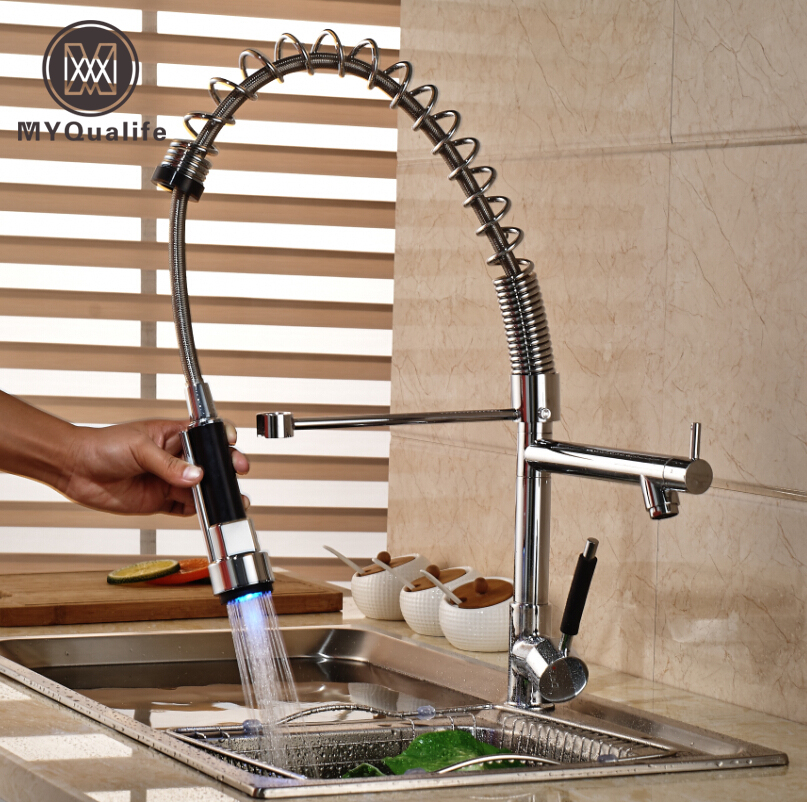 Deck Mount Single Hole Kitchen Brass Mixer Taps Single Handle Dual Spout Pull Down Kitchen Faucet Chrome Finish