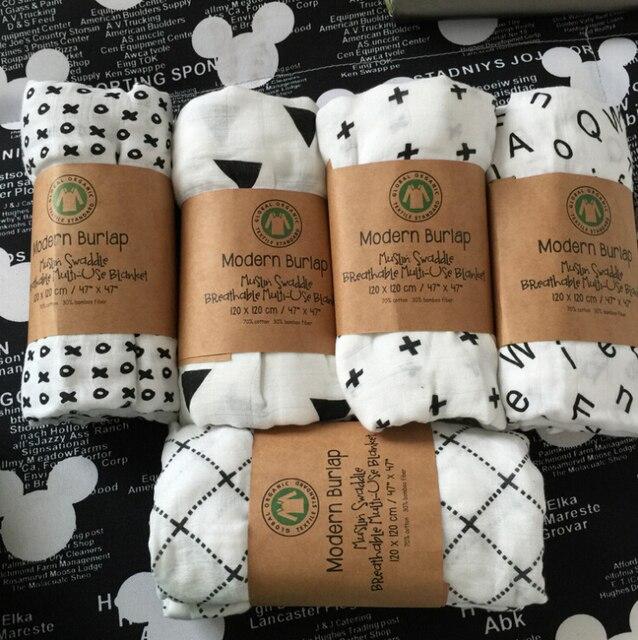 Soft Organic Cotton Gauze Swaddle Bath Towel Modern Burlap Breathable Multifunctional Blanket Infant Newborn Baby Cross Wrap