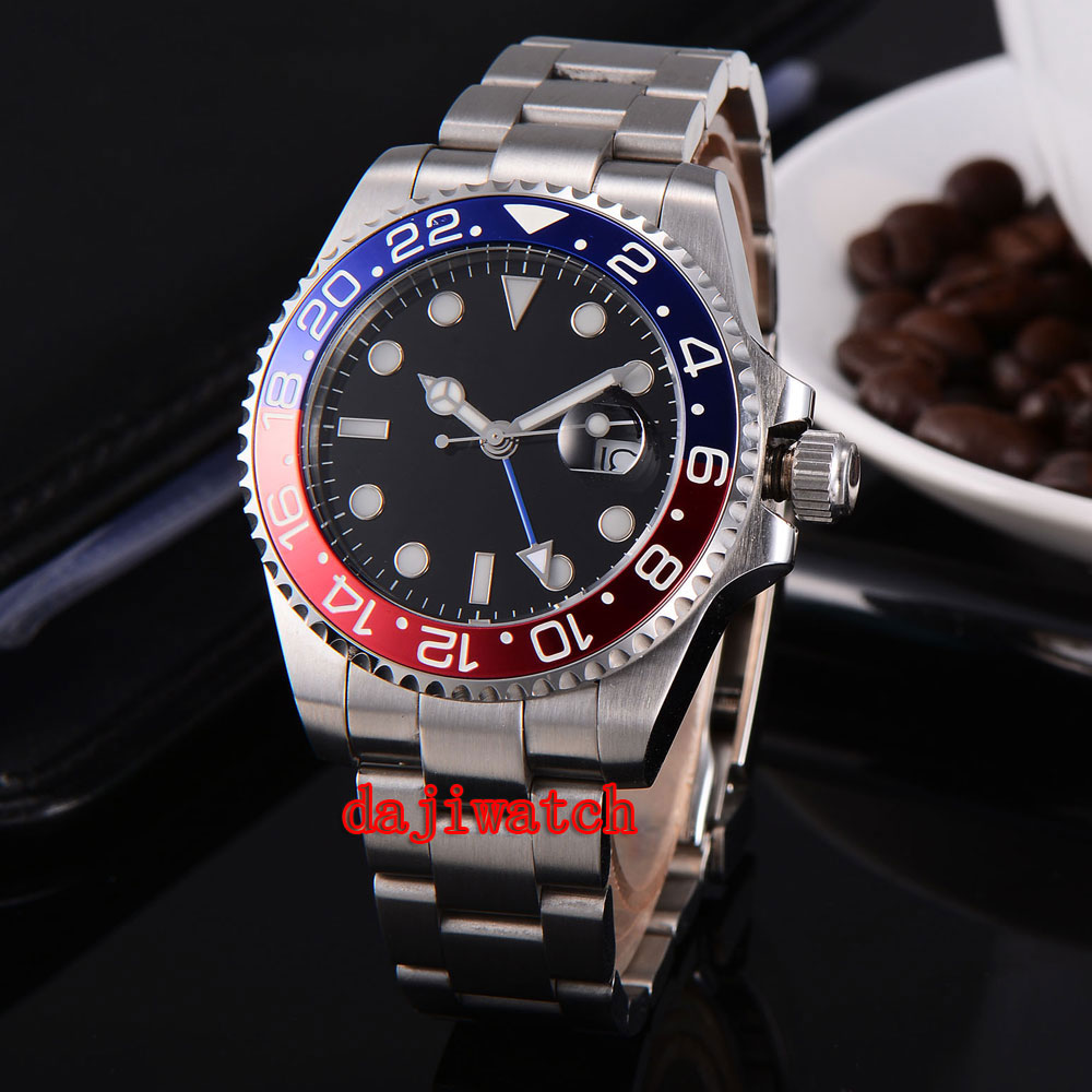 parnis 43mm black dial stainless steel case Sapphire glass calendar GMT mechanical automatic watch men цена 2017