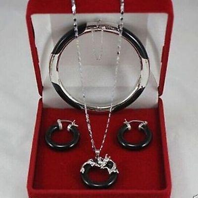 Livraison gratuite Noir Bracelet Pendentif Boucle D'oreille Ensemble de Bijoux AAA style 100% Naturel pierre fine Noble