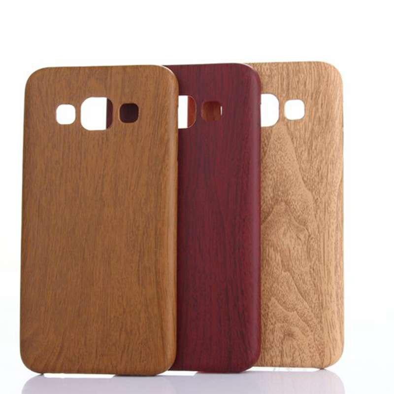 Madera patrón soft pu leather case para samsung a5 2015 espalda coque cubierta p