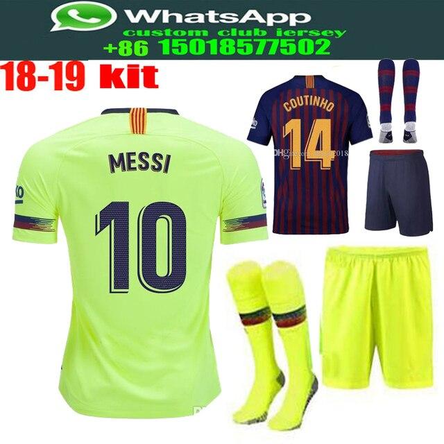 c9d10571a Optimum quality 2018 2019 Barcelonaes adlut kit+sock soccer Jerseys  camisetas shirt survetement man Football shirt size S-2XL
