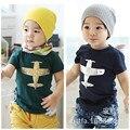 Venda quente 2017 Crianças Roupas Das Meninas Dos Meninos Avião Impresso T-shirt T-shirt 2 Cores das Crianças Dos Desenhos Animados Camisetas de Algodão Crianças