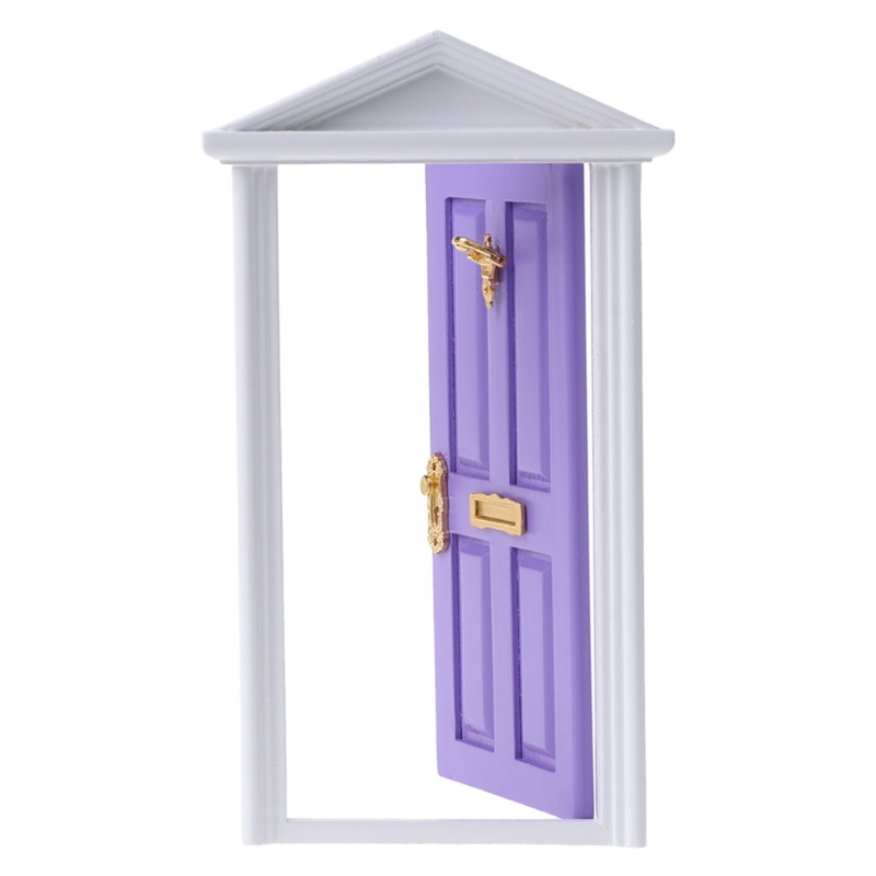 1 12 Dollhouse Miniature Light Pink Door Dolls Parts Fashion Gift in Furniture Toys from Toys Hobbies