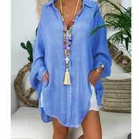 Baumwolle Leinen Womens Tops Und Blusen Plus Größe Langarm Drehen Unten Kragen Weibliche Tunika Strand Dünne Herbst Shirts Casual blusas