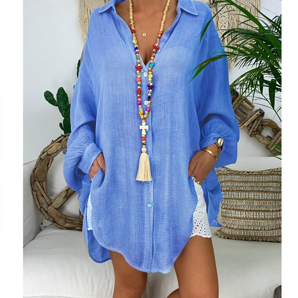 Cotton Linen Womens Tops And Blouses Plus Size Long Sleeve Turn Down Collar Female Tunic Beach Style Thin Women Summer Blouse