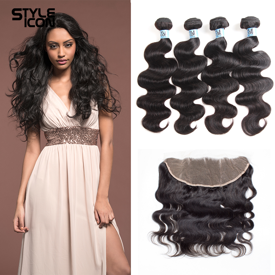 Styleicon Brazilian Body Wave 13x4 Lace Frontal Closure With Bundles 100% Human Hair Bundles With Lace Closure Non Remy