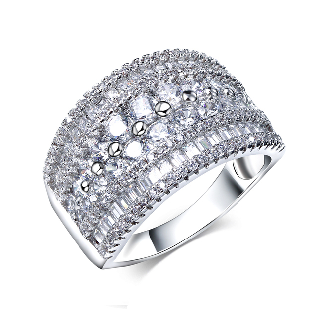 Trendy Woman Ring Platinum Plated / 18k Gold Plated With Round and Rectangular Cut CZ Wedding Bands Ring bague femme