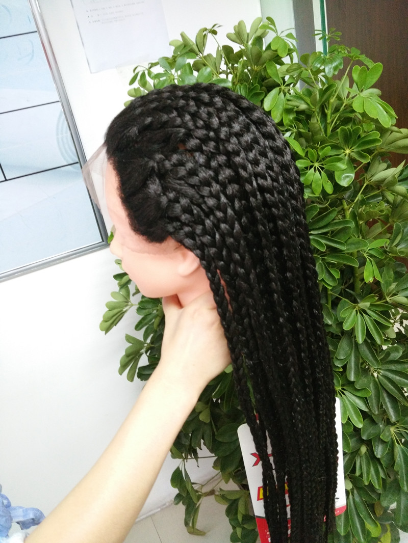 ФОТО Box Braids Crochet Long Synthetic Braiding X-Braided Lace Wig/Lace Front Wig with Natural Looking Large Box Braid Lace Front Wig