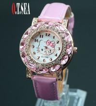 2016 Новая Мода O. т. МОРЕ Бренд Мило Hello Kitty Часы Childlren Девушки Женщины Кристаллический Кварц Платье Наручные Часы 048-27(China (Mainland))
