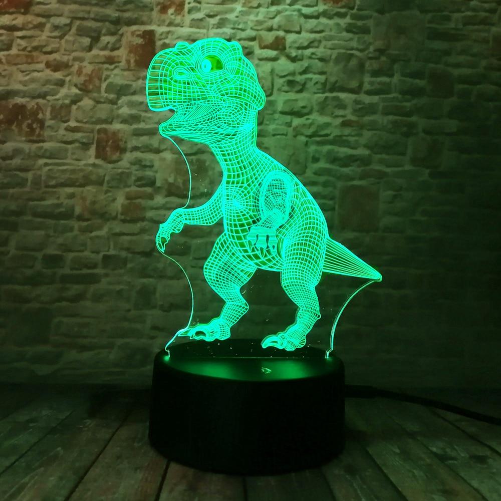 Yeni Unikal Tirannosaurus Rex Dinosaur Dragon 3D 7 Rəng - Gecə işığı - Fotoqrafiya 2