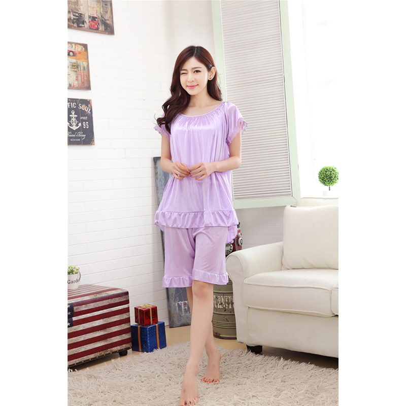 2019 Home Wear Sleep Wear For Women Ladies Sexy Silk Satin   Pajama     Set   Lace   pajamas     Set   Sleeveless   pajamas     Set   O-neck Sleepwear
