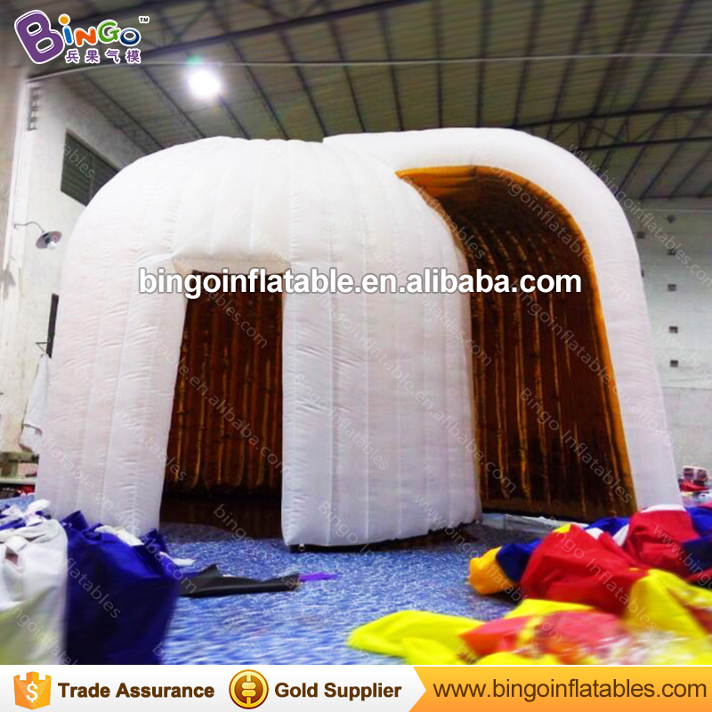 Free Delivery white exterior golden interior inflatable photo booth tent type blow up igloo photobooth for party toy tents white blow up igloo dome inflatable tent product for promotion