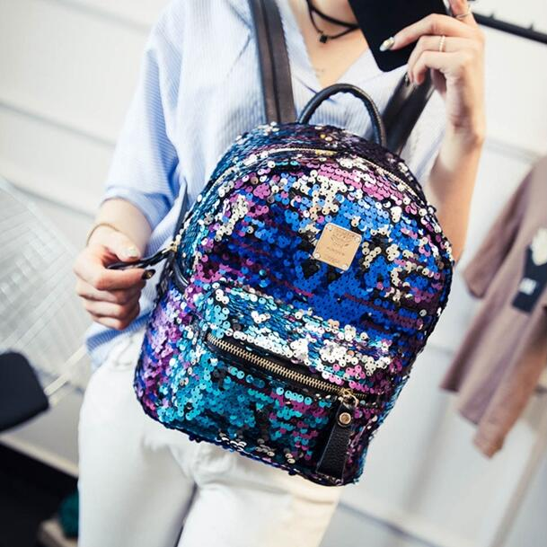 College wind fashion New female bag Sequined wild shoulder bag PU Leather Women Backpack Girl High