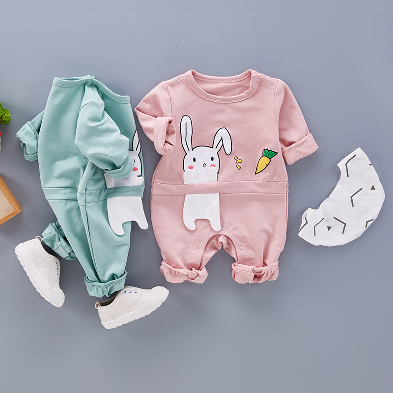 Baby Rompers Autumn Spring Baby Boy Girl Clothes Long Sleeve Rabbit Ear Romper Clothes for Baby Girl Toddler Infant Jumpsuit autumn winter baby girl rompers striped cute infant jumpsuit ropa long sleeve thicken cotton girl romper hat toddler clothes