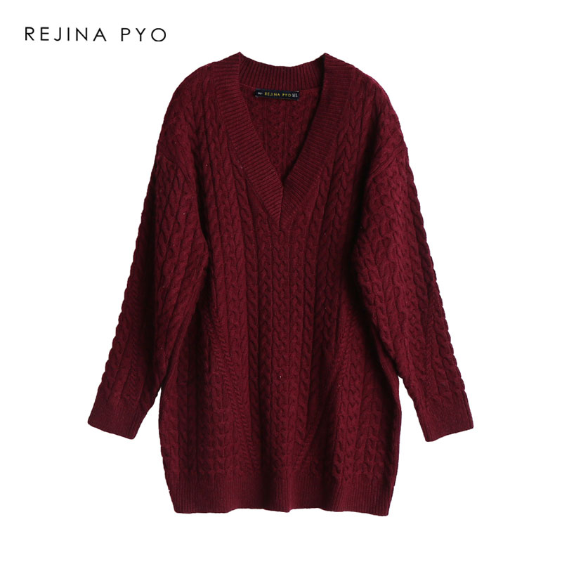 REJINAPYO Women Loose Solid Cross Hawse Crochet Long Sweater High Street Ladies V-neck Elegant Sweater Pullovers For Autumn