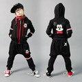 2016 Весна детской одежды набор мальчиков или девочек черные Костюмы толстовка Хип-Хоп гарем брюки дети спортивные костюмы