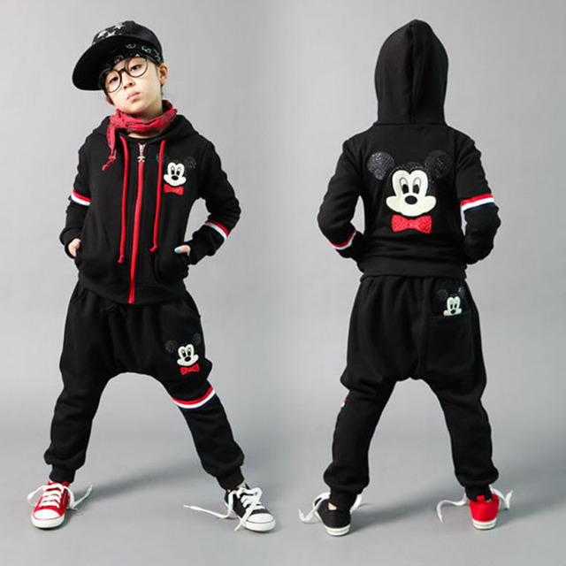 2016 Spring children's clothing set boys or girls black Costumes sweatshirt Hip Hop harem pants kids sport suits